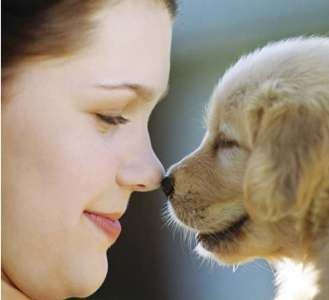 Girl and Dog Face to Face