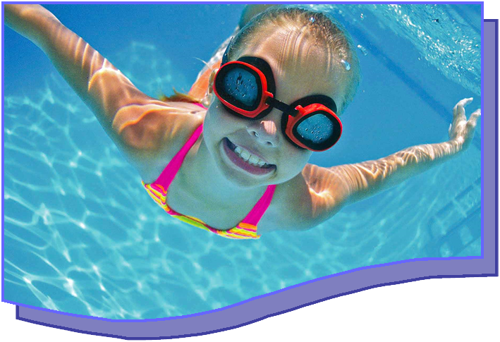 A girl swimming under water.